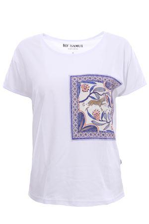 T-shirt in cotone lawn KO SAMUI | 8 | TEE229BANDANAWHT