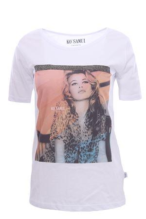 T-shirt in cotone con stampa animalie KO SAMUI | 8 | TFE213WHT