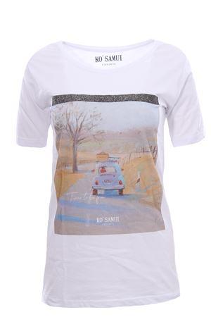 T-shirt in cotone con stampa free KO SAMUI | 8 | TFE214WHT
