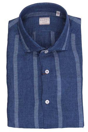 Camicia riga larga in lino tinto filo XACUS | 5032279 | 748ML81233003