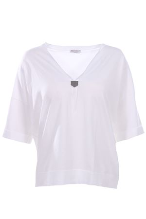 T-shirt collo a v BRUNELLO CUCINELLI | 8 | DM8Z828101C159
