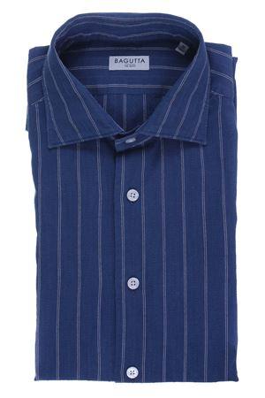 Camicia in cotone indaco a righe BAGUTTA | 5032279 | JTEO07880250