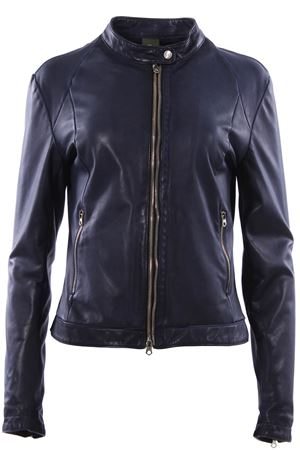 Leather biker with mandarin collar