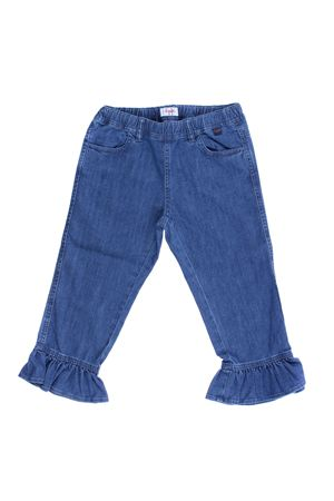 Pantalone capri in denim con ruches IL GUFO | 5032272 | P18PR027J0003483