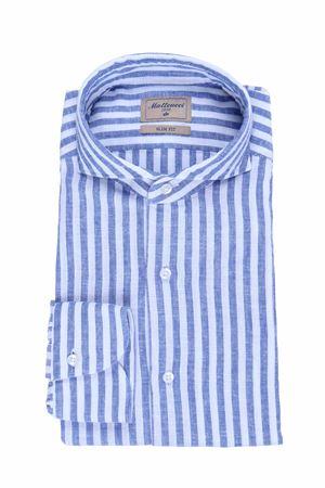 Camicia rigata in lino e cotone MATTEUCCI 1939   5032279   BW164L07909250