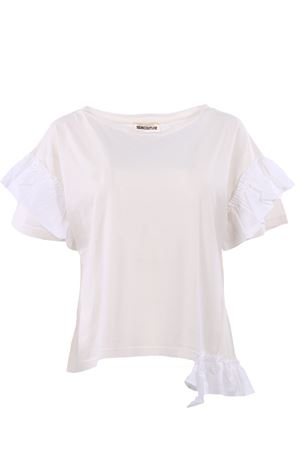 T-shirt con ruches in cotone SEMICOUTURE | 8 | P8YY8PM09001