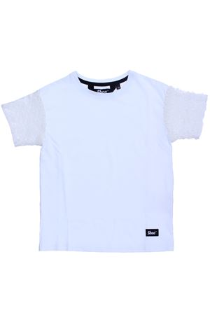 T-shirt in cotone con pailletes SHOE | 8 | E8TF11WHITE