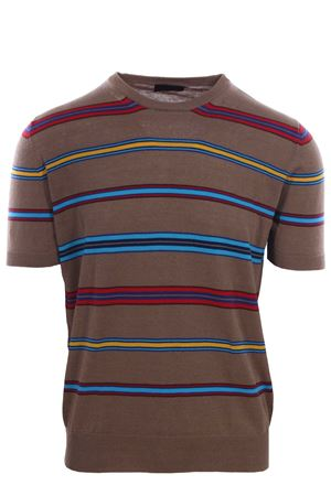 Multicolored linen and cotton sweater t-shirt