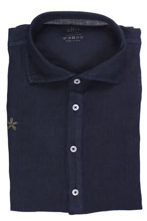 Linen polo shirt with embroidery