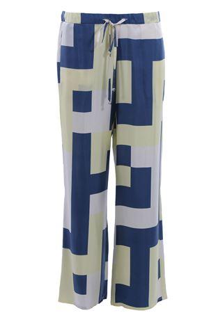 Pantaloni a gamba larga con coulisse in seta ALYSI | 5032272 | 109194P9229BLUEBONNET