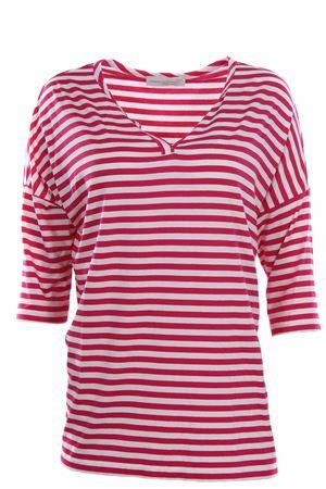 T-shirt lunga girocollo effetto riga  ANNA SERRAVALLI | 8 | S670161