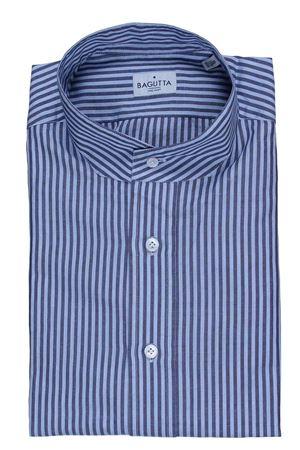 Camicia coreana a righe in cotone e lino BAGUTTA | 5032279 | MIKONOSEL09072250