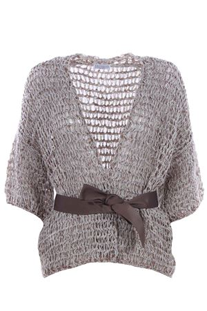 Cardigan with sequins and belt