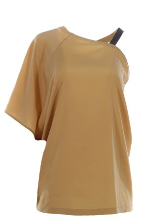 One shoulder silk t-shirt