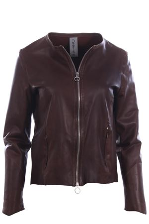 Leather jacket with zip