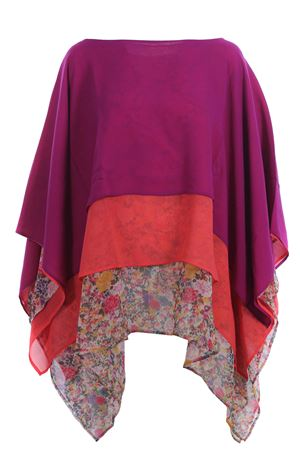 Silk poncho with flounces