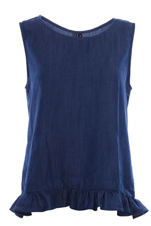 Denim camisole with ruffles
