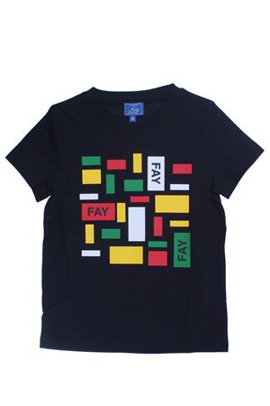 T-shirt with multicolored print
