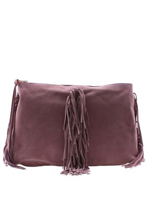 Suede clutch bag with fringes L