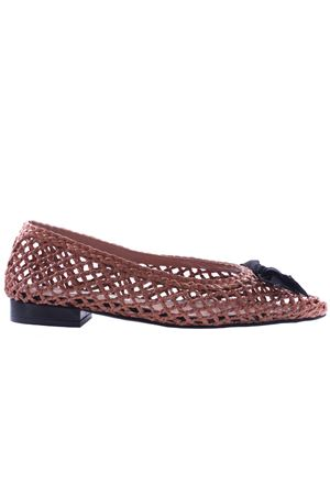 Perforated leather ballerinas with bow