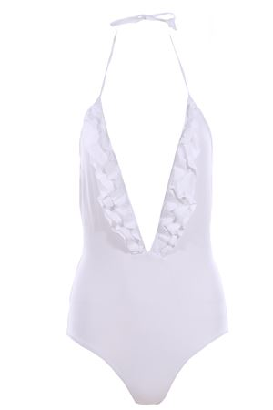 One piece swimsuit with ruffles