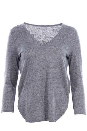 T-shirt collo a v in lino MAJESTIC | 8 | J011FTS171236