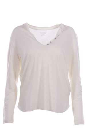Linen v-neck with jewel buttons