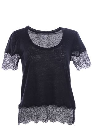 T-shirt in lino con inserti in pizzo MAJESTIC | 8 | J068FTS187002