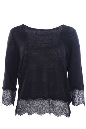 T-shirt in lino con inserti in pizzo MAJESTIC | 8 | J068FTS188002
