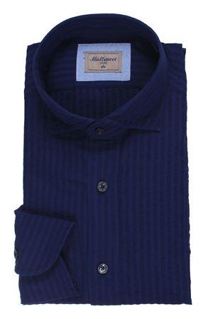 Camicia lavata a righe in seersucker di cotone e lino  MATTEUCCI 1939 | 5032279 | 500EBLW08989251
