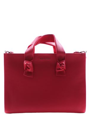 Leather shopping bag with shoulder strap