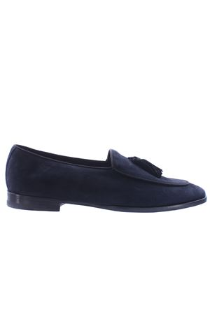 Suede loafer with fabric tassels
