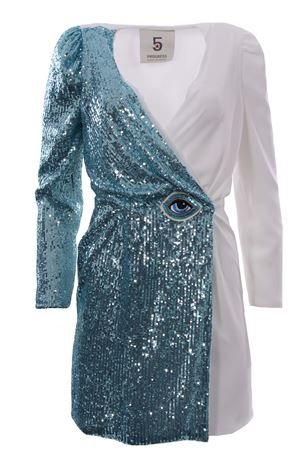 Crossed dress with sequin application