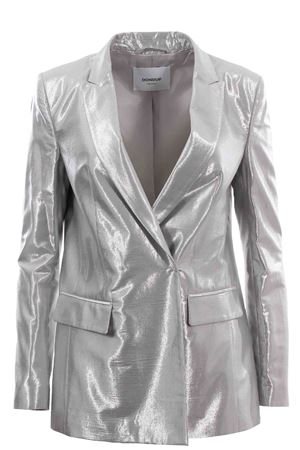 Double breasted jacket metal effect
