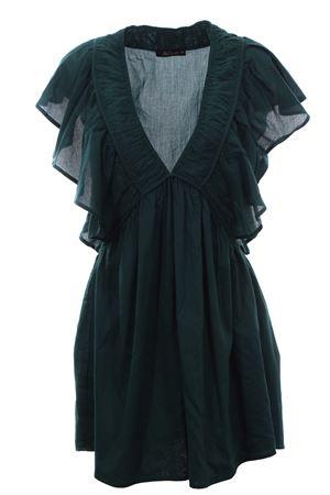 Mini abito in cotone con rouches MESDEMOISELLES | 5032276 | 20SCALIXTEEMERALD
