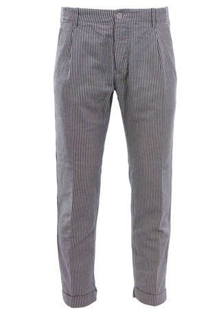 Cotton and linen striped pants