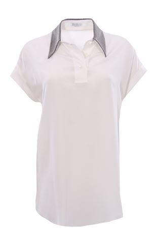 Silk polo with necklace applications BRUNELLO CUCINELLI | 5032279 | MB993BU925C600