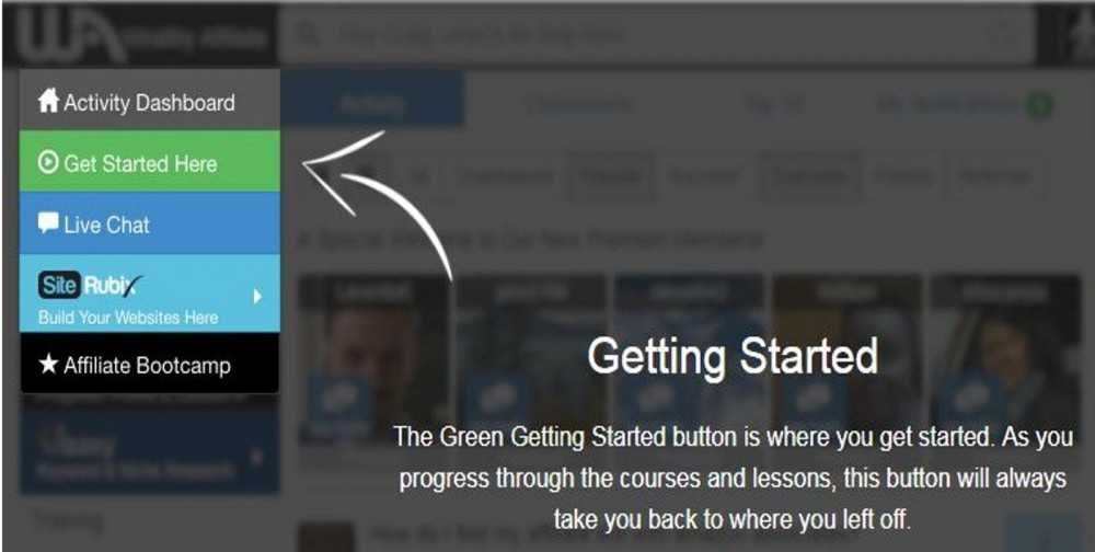 Wealthy Affiliate Get Started Menu button