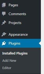 WordPress menu Plugin option highlighted