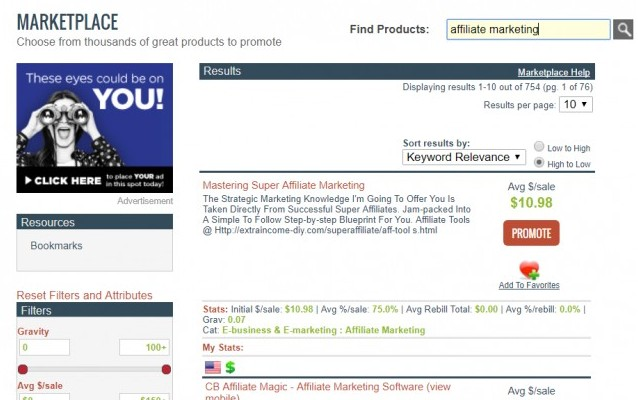photo of what the clickbank marketplace looks like
