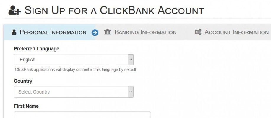 photo of clickbank sign up page