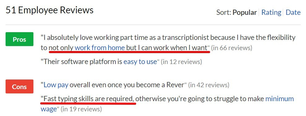 Reviews from Glassdoor