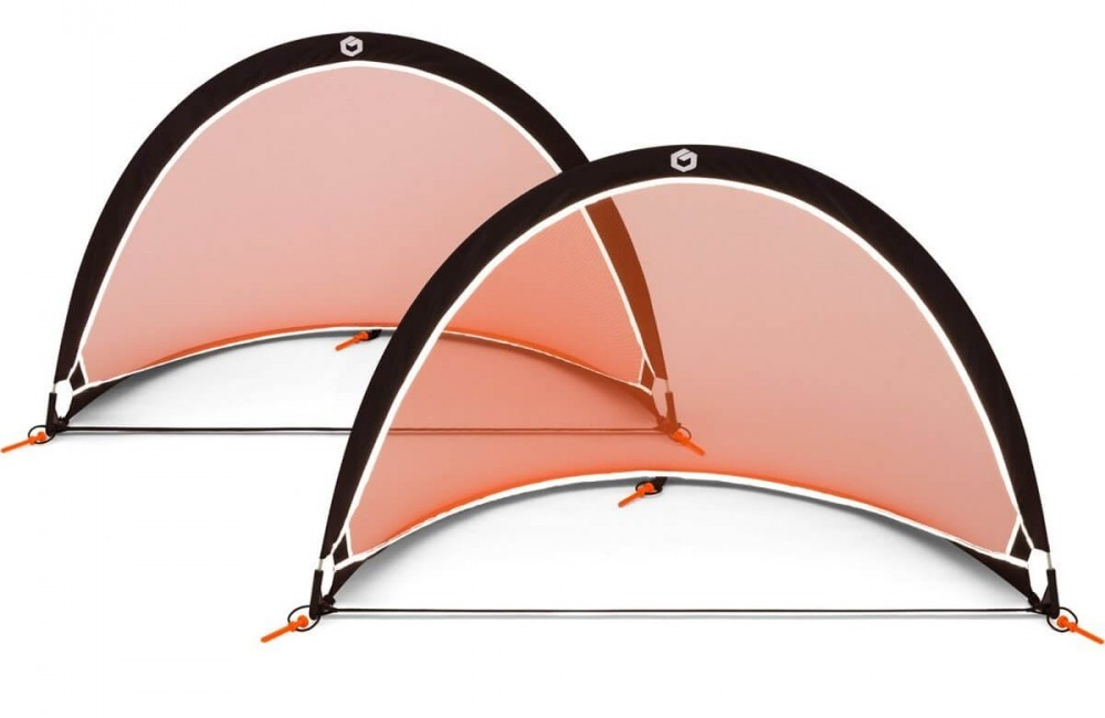 A set of two Orange and black GOLME PRO Pop Up Soccer Goals