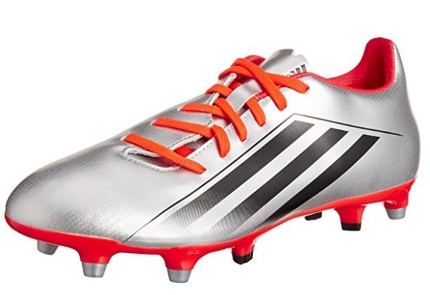 A red and silver adidas RS7 TRX SG 4.0 rugby boot