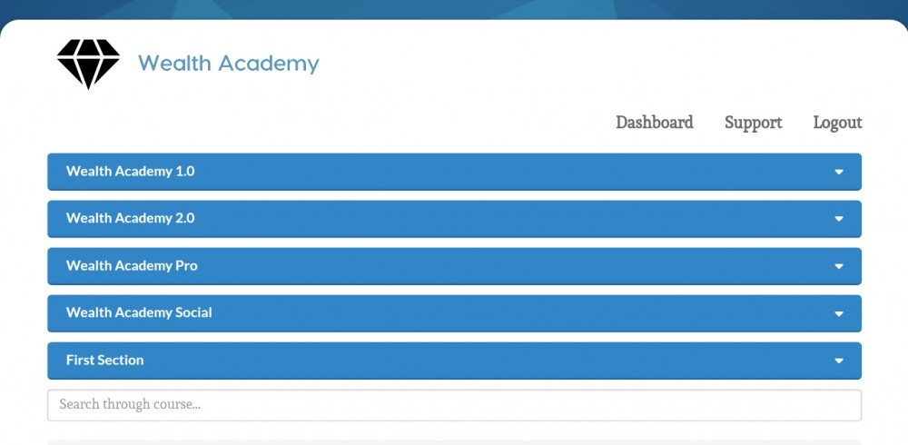 Wealthy academy members dashboard screenshot