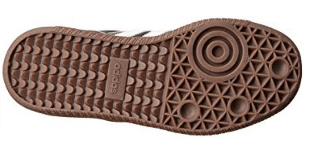 Bottom view of the Adidas Performance samba outsole