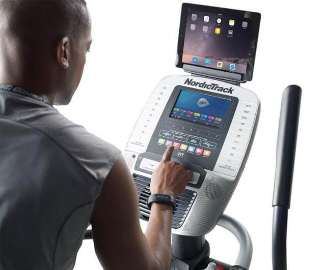 Hi-tech digital screen of an elliptical training machine