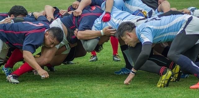 rugby scrum between two rugby teams
