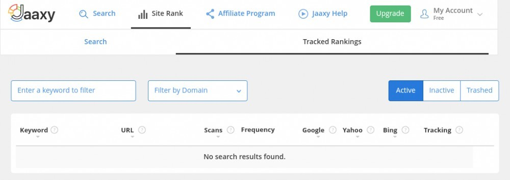 Screen shot of jaaxy's site rank checker