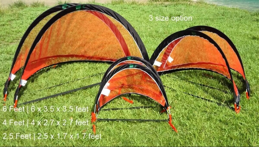 3 different sizes of the GreEco Set of 2 Pop Up Goals
